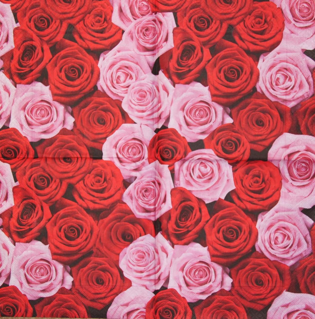 Салфетки декупажные Розовые и красные розы 979