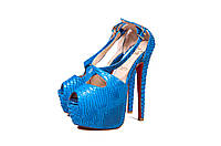 Christian Louboutin синяя змея каблук 16см