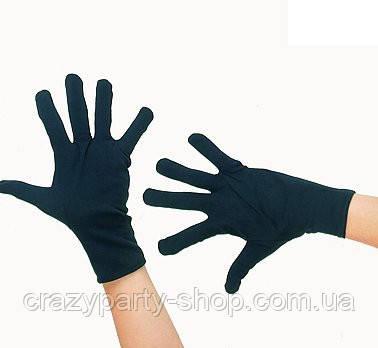Перчатки карнавальные черные короткие