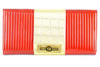 Женский кошелек Canevo 623 красный с золотом из натуральной кожи с монетницей внутри