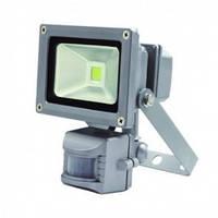 Наружный светодиодный прожектор 10 Вт 6500K IP65 1LED LEMANSO серый с датчиком / LMPS10