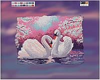 """Схема для вышивки бисером на подрамнике (холст) """"Пара лебедей"""" (полная зашивка)"""