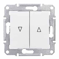 SDN1300121. Выключатель для жалюзи. Электрическая блокировка. Белый. Sedna