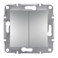 EPH0600161. Двухклавишный переключатель Самозажимные контакты. Алюминий. Asfora plus
