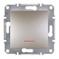 EPH1400169. Выключатель Одноклавишный С подсветкой Самозажимные контакты. Бронза. Asfora plus