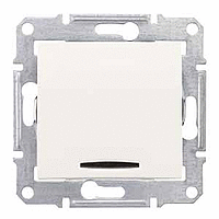 SDN0201123. 2-х полюсный Одноклавишный выключатель. С индикаторной лампой. Слоновая кость. Sedna