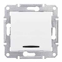 SDN0201221. 2-х полюсный Одноклавишный выключатель. С индикаторной лампой. Белый. Sedna