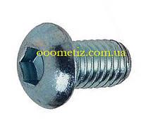 Винт М6х8 10.9 стальной оцинкованный ISO 7380, ГОСТ 28963-91 с полукруглой головкой, внутренним шестигранником