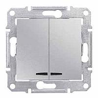 SDN0300360. Двухклавишный выключатель. С подсветкой. Алюминий. Sedna