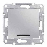 SDN0401160. Одноклавишный переключатель. С индикаторной лампой. Алюминий. Sedna