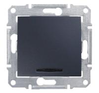 SDN1400170. Одноклавишный выключатель. С подсветкой. Графит. Sedna