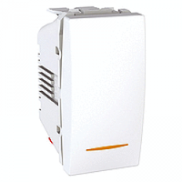 MGU3.103.18S. Переключатель проходной 1-клавишный. (СХ.6)С индикацией. 1 модуль, Белый Unica
