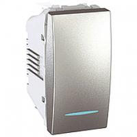 MGU3.161.30N. Выключатель 1-клавишный (СХ1) С подсветкой. 16А, 1-модульный. Алюминий Unica