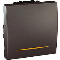 MGU3.263.12S. Переключатель 1-клавишный. Проходной. (СХ.6) 16А, С индикацией. 2-модульный. Графит Unica