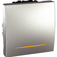 MGU3.263.30S. Переключатель 1-клавишный. Проходной. (СХ.6) 16А, С индикацией. 2-модульный. Алюминий Unica