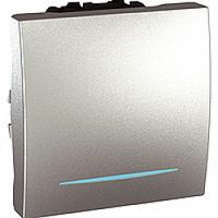 MGU3.263.30N. Переключатель 1-клавишный. Проходной. (СХ.6) 16А, С подсветкой. 2-модульный. Алюминий Unica
