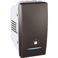MGU3.106.12LN. Выключатель кнопочный. Символ «Свет». С подсветкой. 1-модульный. Графит Unica