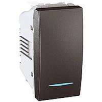 MGU3.106.12N. Выключатель кнопочный. С подсветкой. 1-модульный. Графит Unica