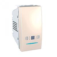 MGU3.106.25CN. Выключатель кнопочный. Символ «Звонок». С подсветкой. 1-модульный. Слоновая кость Unica