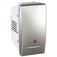 MGU3.106.30LN. Выключатель кнопочный. Символ «Свет». С подсветкой. 1-модульный. Алюминий Unica