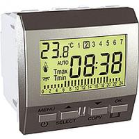 MGU3.505.30. Цифровой программируемый термостат. Отопление/кондиционирование. 8А (+5.35°С). Алюминий Unica