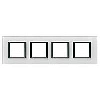 MGU68.008.7C2. Рамка 4-постовая, Белое стекло. Unica Class
