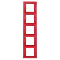 SDN5801541. Рамка 5-постовая. Вертикальная. Красная. Sedna