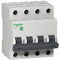 EZ9F34416. Автоматический выключатель. 4Р, 16А, Кривая отключения «С»