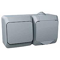 Розетка с заземляющим контактом, Защитные шторки + Выключатель 1-лавишный. Серый