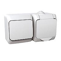 Розетка с заземляющим контактом, Защитные шторки + Выключатель 1-лавишный. Белый