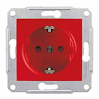 SDN3000341. Розетка с заземляющим контактом и защитными шторками. Красный. Sedna