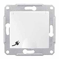 SDN3100121. Розетка с заземляющим контактом и защитными шторками. С крышкой. Белый. Sedna