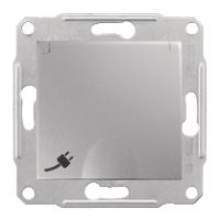 SDN3100160. Розетка с заземляющим контактом и защитными шторками. С крышкой. Алюминий. Sedna