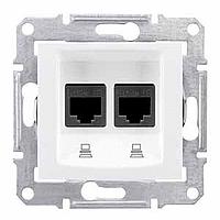 SDN4800121. Двойная компьютерная розетка 2хRJ45 UTP кат.6 SE. Белый. Sedna