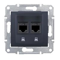 SDN5000170. Двойная компьютерная розетка 2хRJ45 STP кат.6 SE. Графит. Sedna