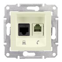 SDN5100123. Сдвоенная розетка компьютер + телефон RJ11 + RJ45 UTP кат.5e. Слоновая кость. Sedna