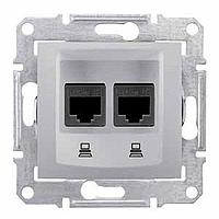 SDN5000160. Двойная компьютерная розетка 2хRJ45 STP кат.6 SE. Алюминий. Sedna