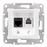 SDN5100121. Сдвоенная розетка компьютер + телефон RJ11 + RJ45 UTP кат.5e. Белый. Sedna