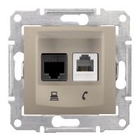 SDN5200168. Сдвоенная розетка компьютер + телефон RJ11 + RJ45 UTP кат.6. Титан. Sedna
