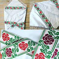 Конверт-одеяло для девочки на выписку с вышивкой, фото 1
