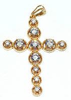 Хрестик ХР позолота, камінь - білий циркон, висота 5,5 см. ширина 35 мм.