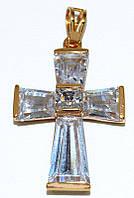 Крестик ХР позолота, камень - белый циркон, высота 4 см. ширина 20 мм.