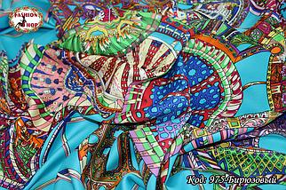 Платок бирюзовый  атласный Лейла, фото 3