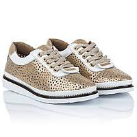 Модные туфли лето Vikttorio (золотистые, со сквозной перфорацией, на шнурках, легкие, стильные)