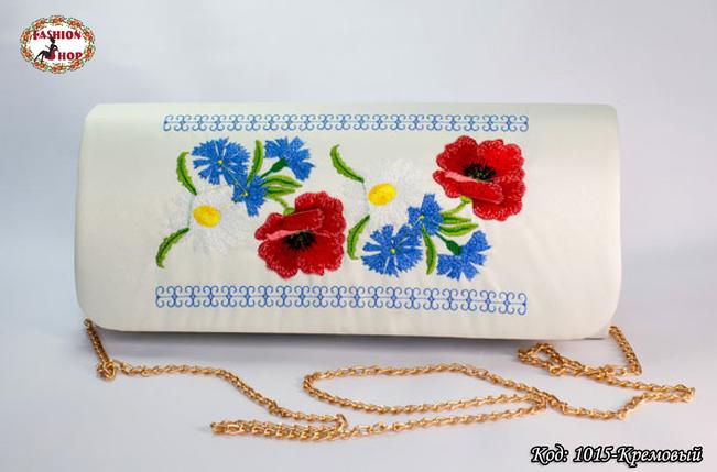 Вышитый кремовый клатч Васильки, фото 2