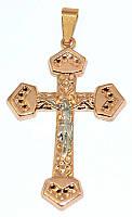 Крестик ХР позолотас розовым оттенком+родий, высота 5 см. ширина 28 мм.