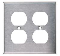 Рамка для розеток американского стандарта ( две двойных , нержавеющая сталь)
