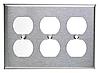 Накладка для розеток американского стандарта ( три двойных , нержавеющая сталь)