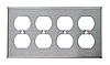Накладка для розеток американского стандарта ( четыре двойных , нержавеющая сталь)