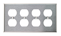 Рамка для розеток американского стандарта ( четыре двойных , нержавеющая сталь)